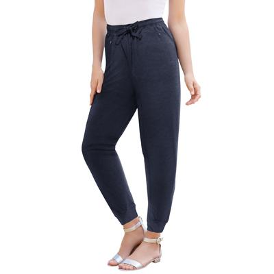 Plus Size Women's Zip Track Pant by Roaman's in Navy (Size 18/20)