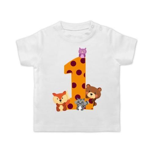 Baby Geburtstag Geburtstagsgeschenk 1. Geburtstag Waldtiere T-Shirts Kinder weiß Baby