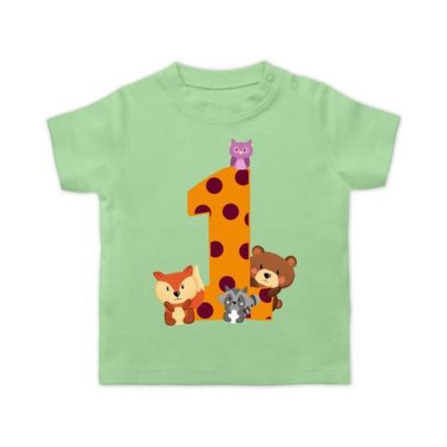 Baby Geburtstag Geburtstagsgeschenk 1. Geburtstag Waldtiere T-Shirts Kinder mint Baby