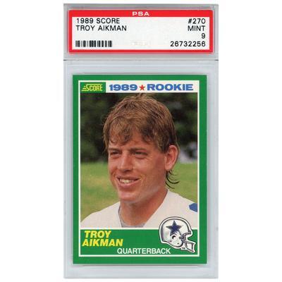Dallas Cowboys Troy Aikman 1989 Score Rookie #270 Card - PSA 9