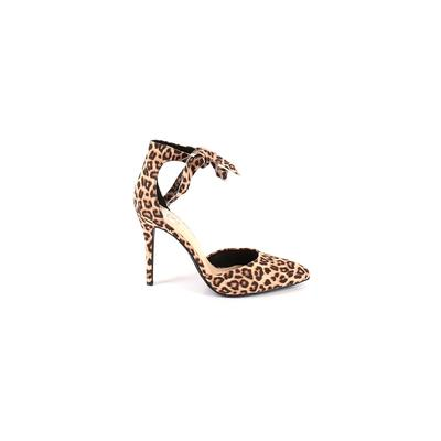 Not Just a Pump Heels: Brown Print Shoes - Size 9