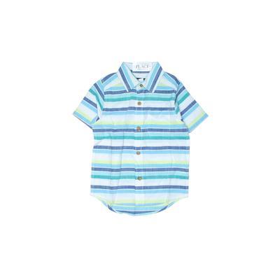 The Children's Place - The Children's Place Short Sleeve Button Down Shirt: White Print Tops - Size 4