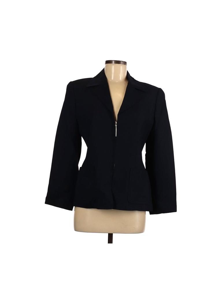 Linda Allard Ellen Tracy Jacket: Blue Solid Jackets & Outerwear - Size 6