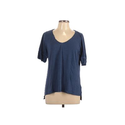 Meadow Rue Short Sleeve Top Blue Solid V-Neck Tops - Used - Size Large