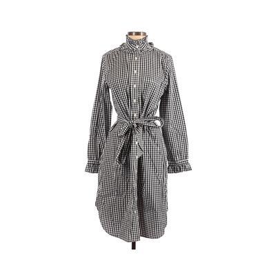 J.Crew - J.Crew Casual Dress - Shirtdress: Blue Checkered/Gingham Dresses - Used - Size 4