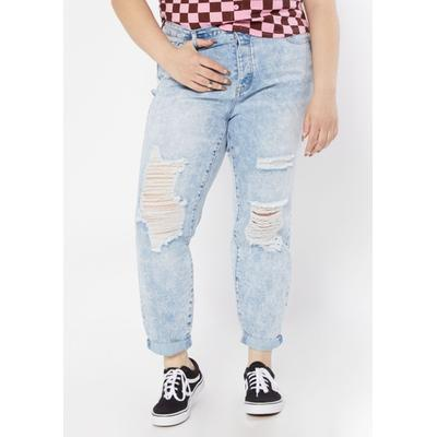 Rue21 Womens Plus Size Light Wash Super High Rise Ripped Mom Jeans - Size 20