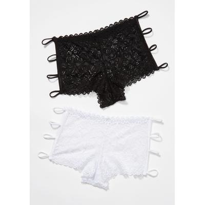 Rue21 Womens 2-Pack White And Black Bungee Boyshort Set - Size S