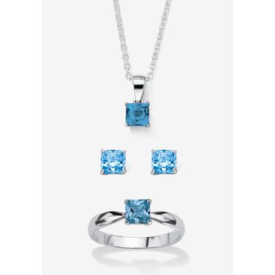 """Plus Size Women's Sterling Silver Simulated Birthstone Ring Earring and Necklace Set 18"""" by PalmBeach Jewelry in March (Size 10)"""