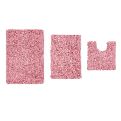 Fantasia 3 Piece Set Bath Rug Collection by Home Weavers Inc in Pink