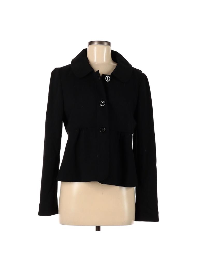 Ann Taylor Jacket: Black Solid Jackets & Outerwear - Size 8