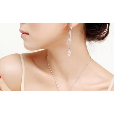 Parure ornée de cristaux Swarovski® : Collier Justine / Blanc / 1