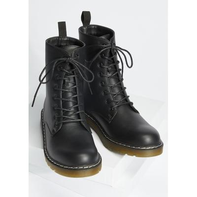 Rue21 Womens Black Faux Leather Combat Boots - Size 10