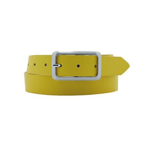 AnnaMatoni Ledergürtel, Mit satinierter eckiger schlichter Gürtelschließe gelb Damen Ledergürtel Gürtel Accessoires