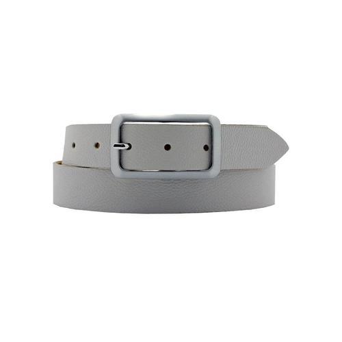 AnnaMatoni Ledergürtel, Mit satinierter eckiger schlichter Gürtelschließe grau Damen Ledergürtel Gürtel Accessoires