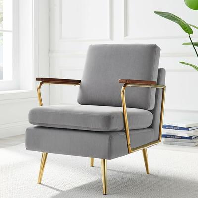 Meriden Furniture - Cherry Tree Furniture Nashville Armchair Grey Velvet