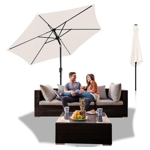 3m Sonnenschirm Marktschirm mit Handkurbel UV30+ Outdoor-Schirm Terrassen Gartenschirm Beige 3m