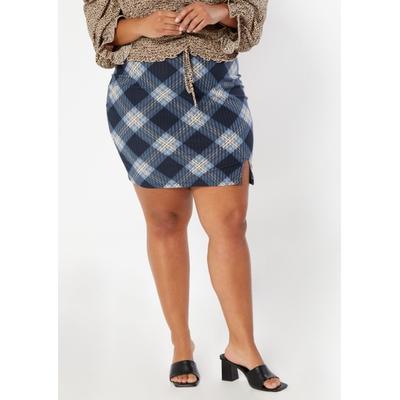 Rue21 Womens Plus Size Dark Blue Plaid Print Thigh Slit Mini Skirt - Size 2X