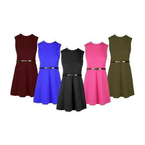Mädchen-Kleid mit Gürtel: Kirschrot/Gr. 9/10