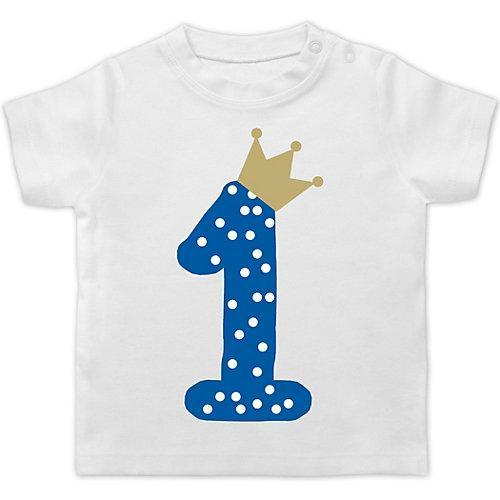 Baby Geburtstag Geburtstagsgeschenk 1. Geburtstag Krone Junge Erster T-Shirts Kinder weiß Baby