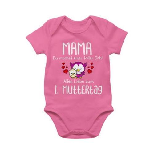 Muttertagsgeschenk Tochter & Sohn Baby Mama du machst einen tollen Job alles Liebe zum 1. Muttertag weiß Bodys Kinder pink Baby