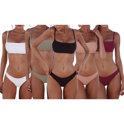 Women's Low-Waisted Two-Piece Swimwear: Red/Size XL