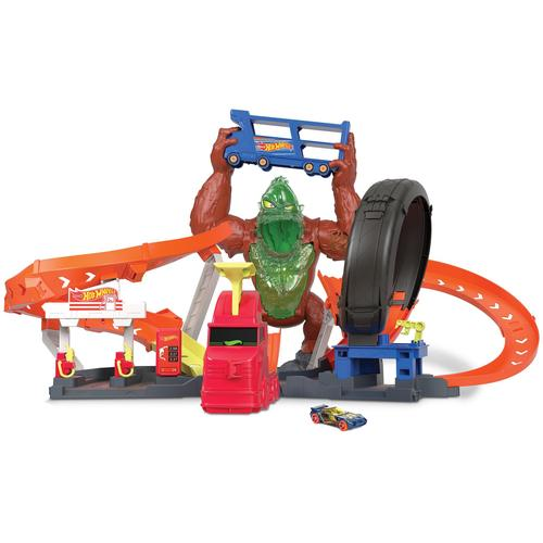 Hot Wheels Autorennbahn City Slam Gorilla, mit Geräuschen und Looping bunt Kinder Autorennbahnen Autos, Eisenbahn Modellbau