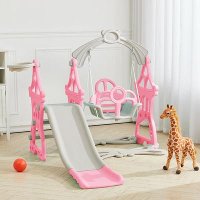 Kids Climber Slide Swing Play Set with Basketball Hoop 3-In-1 Garden Playground,Pink - 747492486539