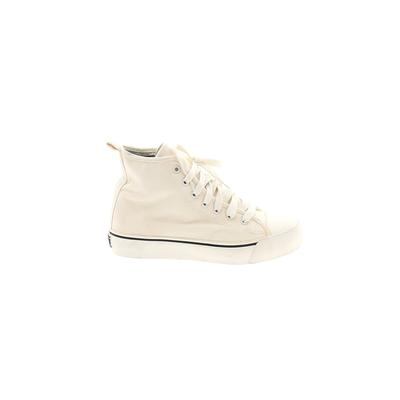 DKNY Sneakers: White Solid Shoes - Size 6 1/2