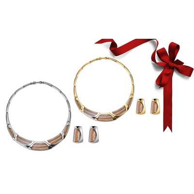 Parure bijoux collier et boucles d oreilles : Or