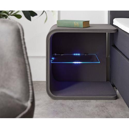 DELIFE Nachttisch Oscar Big 50cm hoch Grau mit LED und Glasablage, Nachttische
