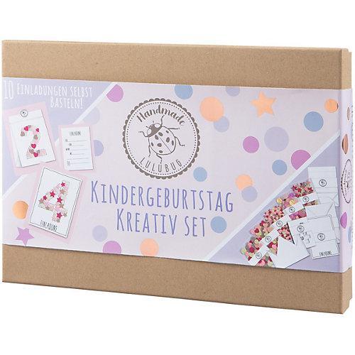 Kindergeburtstag Einladungskarten, Kreativ-Set, rosa, 10 Stück