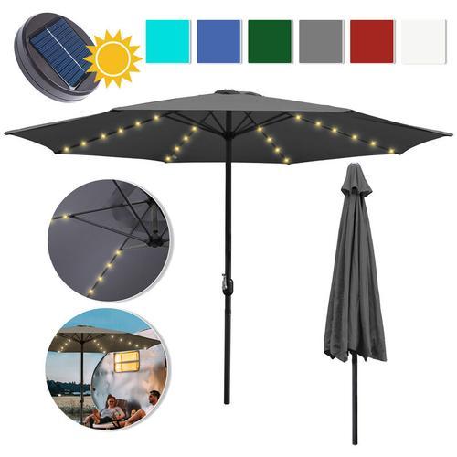 3m Sonnenschirm Marktschirm mit Handkurbel UV30+ Outdoor-Schirm Terrassen mit LED Solar Blau 3m