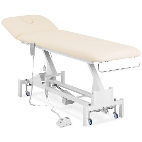 Massageliege elektrisch Massagebank Therapieliege 200 kg beige Fußpedal Räder