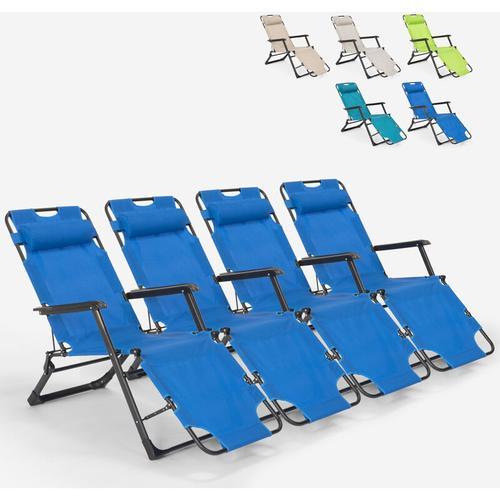 4 klappbare Garten-Strandkörbe mit mehreren Positionen Zero Gravity Emily Lux | Blau