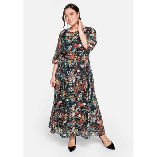 Sheego Abendkleid, lang in sehr weiter Form mit Bindeband schwarz Damen Abendkleider Kleider Abendkleid