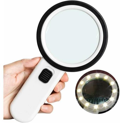 SOEKAVIA 10 × Leselupe mit 12 LED, Größe 106 mm, verzerrungsfreie Handlupe mit doppelter Glaslinse