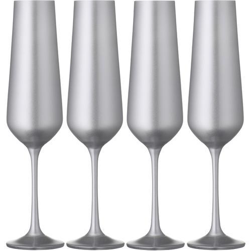 BOHEMIA SELECTION Sektglas, (Set, 4 tlg.), 200 ml, 4-teilig silberfarben Sektgläser Champagnergläser Gläser Glaswaren Haushaltswaren Sektglas