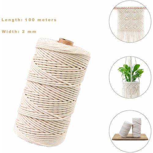 Makramee-Faden, natürliches Baumwoll-Jute-Seil, Baumwollseil, Makramee-Seil für DIY (100M-2mm)