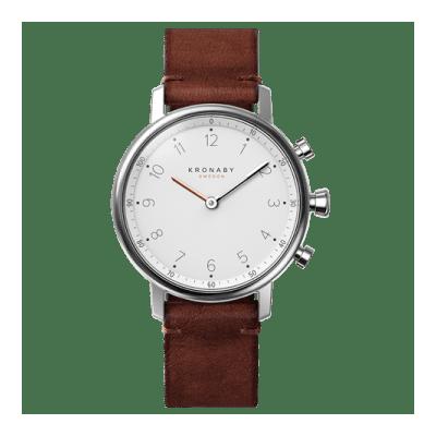 Kronaby - Nord 38 Mm Hybrid Smartwatch White Dark Brown Leather