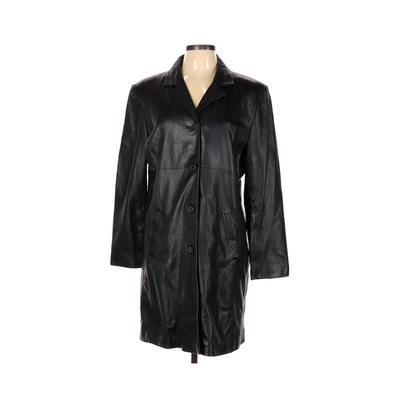 Jones New York Coat: Black Solid Jackets & Outerwear - Size Large