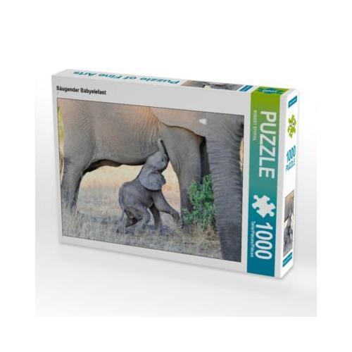 Säugender Babyelefant Foto-Puzzle Bild von ROBERT STYPPA Puzzle