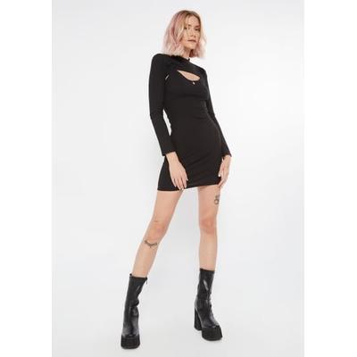Rue21 Womens Black Ribbed Cutout Bolero Shrug Dress - Size M