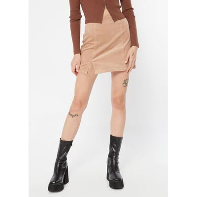 Rue21 Womens Khaki Corduroy Thigh Slit Mini Skirt - Size S