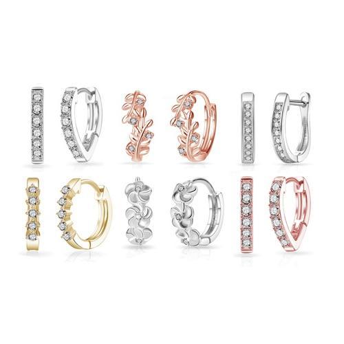 Creolen: 3 / Creolen mit 6 Kristallen / Silber Gold und Roségold