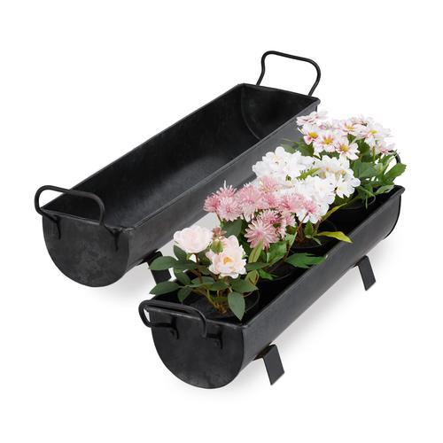 Relaxdays Blumenkasten Dachrinne 2er Set