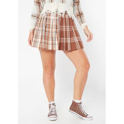 Rue21 Womens Brown Plaid Colorblock Pleated Skirt - Size L