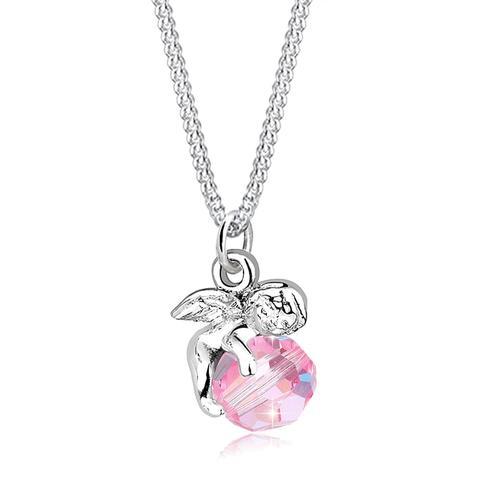 Halskette Engel Kugel Flügel Kristall Silber Elli Rosa
