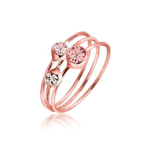 Ring Set Kristalle Rosé Vergoldet Elli Rosa