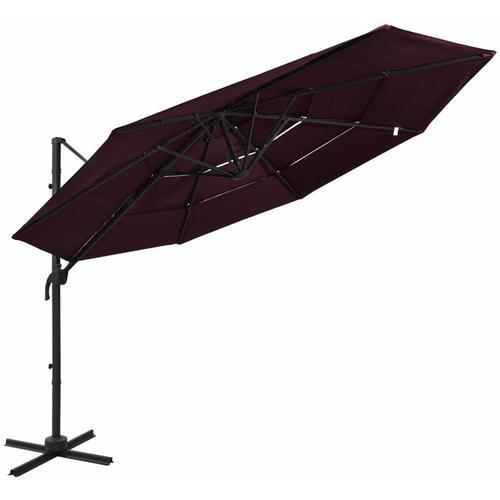 Sonnenschirm mit Aluminium-Mast 4-lagig Bordeauxrot 3x3 m