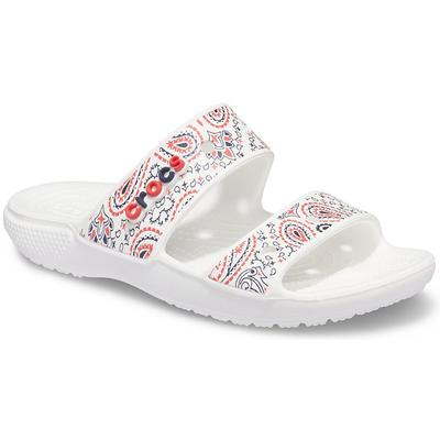 Crocs White / Multi Classic Crocs Americana Paisley Sandal Shoes